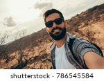man traveling with backpack... | Shutterstock . vector #786545584