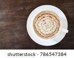 top view of hot coffee caramel... | Shutterstock . vector #786547384