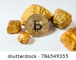 bitkoi coin. and gold nuggets.... | Shutterstock . vector #786549355