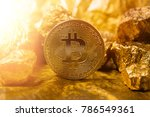 bitkoi coin. and gold nuggets.... | Shutterstock . vector #786549361