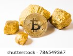bitkoi coin. and gold nuggets....   Shutterstock . vector #786549367