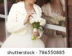 wedding bouquet of white tulips ...   Shutterstock . vector #786550885
