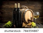 wine background. a barrel of... | Shutterstock . vector #786554887