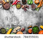 organic food. legumes with... | Shutterstock . vector #786555031