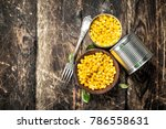 canned corn in a tin can with... | Shutterstock . vector #786558631