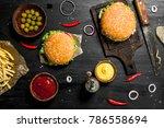street food. fresh burgers with ... | Shutterstock . vector #786558694