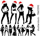 christmas fashion sexy women | Shutterstock .eps vector #7865590