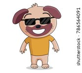 a funny dog with black glasses. ... | Shutterstock .eps vector #786564091