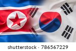 south and north korea flag... | Shutterstock . vector #786567229