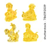 golden dog statue collection on ... | Shutterstock . vector #786592039