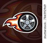burning car wheel logo design.... | Shutterstock .eps vector #786592969