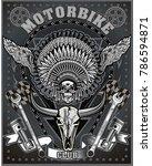 vintage motorcycle label | Shutterstock . vector #786594871