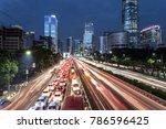light trails from heavy traffic ... | Shutterstock . vector #786596425