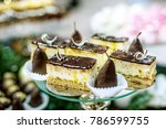 chocolate cakes and pieces of... | Shutterstock . vector #786599755