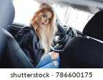 sexy young blonde woman in car. ... | Shutterstock . vector #786600175