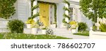 3d rendering. spring decorated... | Shutterstock . vector #786602707