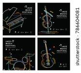 jazz music banner poster square ... | Shutterstock .eps vector #786604081