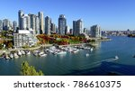 Stock photo autumn landscape of false creek in vancouver downtown bc canada 786610375