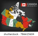 canada map with provinces. all... | Shutterstock .eps vector #786615604