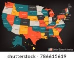 usa map with federal states.... | Shutterstock .eps vector #786615619