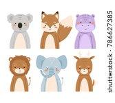 set of six cute cartoon animals.... | Shutterstock .eps vector #786627385