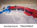 toy train connecting europa and ... | Shutterstock . vector #786630865