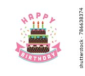 icon sweet birthday cake with... | Shutterstock .eps vector #786638374