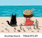 a little girl and her cat are... | Shutterstock .eps vector #786639139
