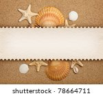 Shells, sand and blank card - stock photo