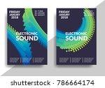 electronic music poster. modern ... | Shutterstock .eps vector #786664174