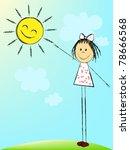 the girl reaches for the sun | Shutterstock .eps vector #78666568