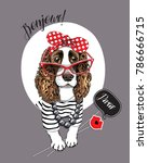 Spaniel Dog In A Striped...