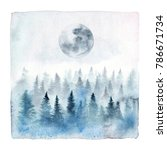 Watercolor Painting Of A Foggy...