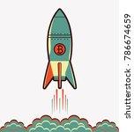 bitcoin rocket  ship flying...   Shutterstock .eps vector #786674659