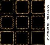 set of golden borders   design... | Shutterstock .eps vector #786683701