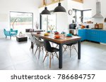 modern dining room with dining... | Shutterstock . vector #786684757