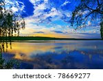 The Sunset Over Lake. Lake...