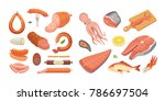 different types of meat... | Shutterstock .eps vector #786697504