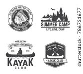 set of kayak club badges.... | Shutterstock .eps vector #786731677