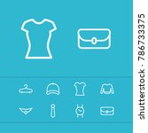 clothing icons set with watch ...