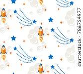 space rocket cartoon seamless... | Shutterstock .eps vector #786734977