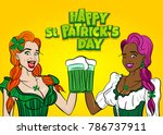 two girls. happy st patrick's... | Shutterstock .eps vector #786737911