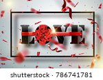 love with red big bow on a... | Shutterstock .eps vector #786741781