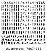 Many very detailed silhouettes including business, dancers, yoga etc. - stock photo