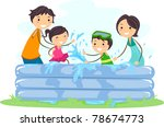 Illustration of a Family Playing in an Inflatable Pool - stock vector