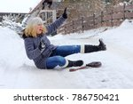 a woman slipped and fell on the ...   Shutterstock . vector #786750421