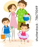 Illustration of a Family Outing at the Beach - stock vector