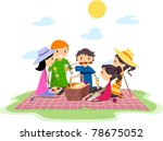 Illustration of a Family Having a Picnic - stock vector