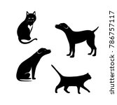 Stock vector silhouette of a dog and a black cat with a white background 786757117