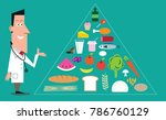 doctor with healthy eating food ... | Shutterstock .eps vector #786760129